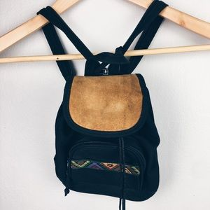 Vintage suede and nylon mini backpack